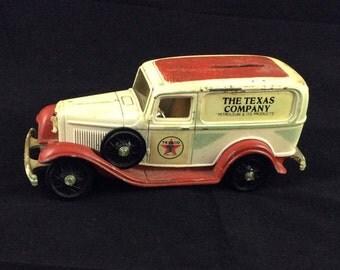Vintage 1932 Ford Texaco replica gasoline delivery van - collectible 1986 Texaco diecast toy truck coin bank