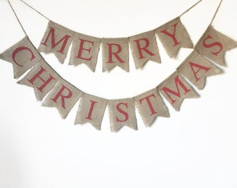 Merry Christmas Burlap Banner, Merry Christmas Banner, Merry Christmas Garland, Merry Christmas Sign, Merry Christmas Decor, Holiday Decor