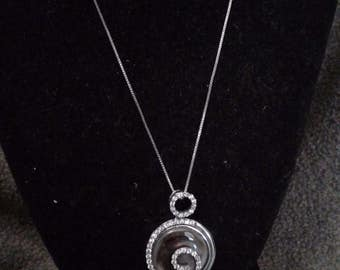 Vintage Sterling Silver, Mother of Pearl, and Cubic Zirconia Pendant Necklace