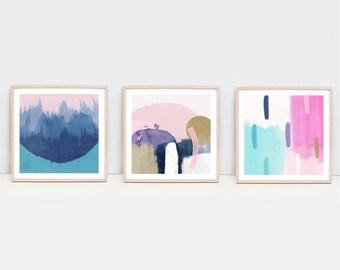 Set of 3 Square Abstract Contemporary Art Print, Digital Download, Navy, Pink, Mustard, Gold, Watercolor, Printable 12x12 print Set