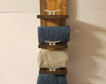 Rustic Nautical Towel Rack, Four Shelf, Bathroom Decor, Marina Decor, Beach