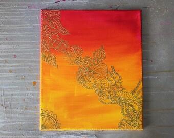 Colourful Indian Summer Henna / Mehendi Inspired Acrylic Painting Wall Art