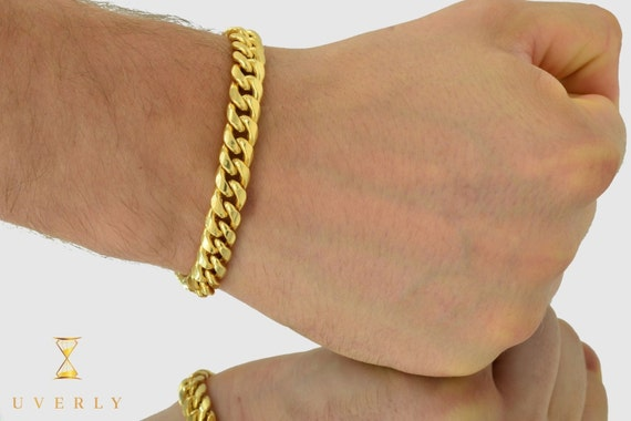 """10mm 10K Semi-Solid Yellow White Gold Miami Cuban Link  Bracelet 7""""-9"""" inches"""