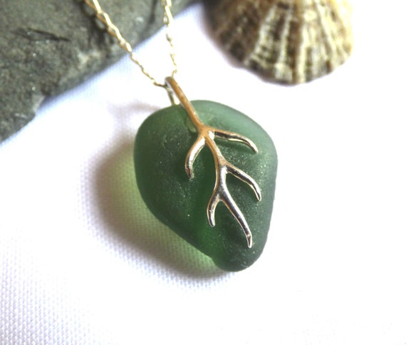 Green Leaf Sea Glass Pendant on Sterling Silver Chain - PD16008