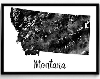 Map of Montana, United States of America, Black and White Map, Travel, Watercolor, Room Decor, Poster, gift, Print, Wall Art (759)