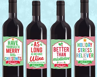Holiday Party Favors, Custom Wine Labels, Holiday Wine Stickers, Christmas Wine Labels, Christmas Wine Label, Wine Label Set, Xmas Labels