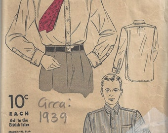 "1939 Vintage Sewing Pattern Size - 15 1/2""  (Chest: 40) Mens Shirt (1779) By Du Barry"