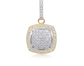 10K Solid Yellow Gold Cubic Zirconia Square Pendant - Cluster Necklace Charm