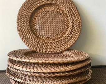 Set of 6 Vintage Rattan Chargers- Table Place Settings- Platter Holder- Wall Decor- Garden Decor