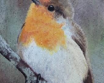 British Birds Print, Robin Picture, Nature Art, Miniature Oil Painting, Giclée Print, Tiny Art, Bird Print