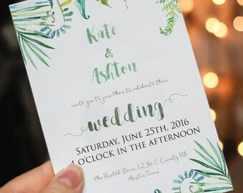 printable wedding invitation green floral wedding invitation watercolor floral wedding, garden wedding, outdoor wedding invitation greenery