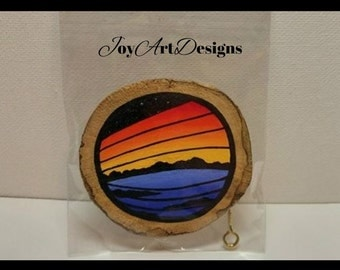 Driftwood Art Wood Magnet Wall Ornament Gift Miniature Painting Ocean Decor Vibrant Abstract Art Eco Friendly Coastal Scene Colorful Sunset