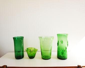 Set of 4 large vases green blown glass Italian empoli