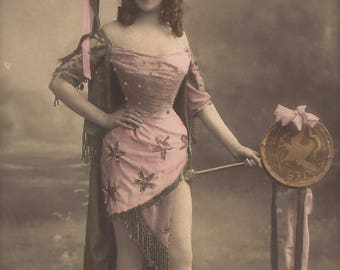Burlesque Pirate Lady Miss Gerard Portrait in Outrageous Elaborate Costume...Original 1900s Antique French Photo Postcard by Walery of Paris