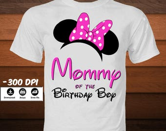 Minnie Mouse Ears T-Shirt-Mommy Minnie Mouse Iron on Transfer T-Shirt-Printable Minnie mouse Mommy of the Birthday Boy-DIGITAL DOWNLOAD