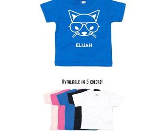 Cat with glasses shirt, nerd cat, cat shirt, baby shirt, hipster baby shirt, personalized shirt, cat name shirt, personalized cat, baby cat
