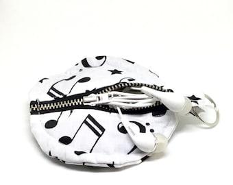 Earphone  pouch, money pouch,  headphones holder, ear bud pouch, headphones case, earphones protector, music gift, ear bud holder