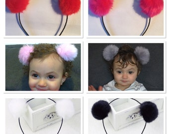 Pom pom headband, furry headband, baby photo prop, baby girls headband, mouse ears, teddy bear ears, kids furry ears, kids animal ears, fur