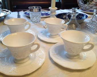 Milk Glass Grape & Vine Motif Cup and Saucer Set of 4