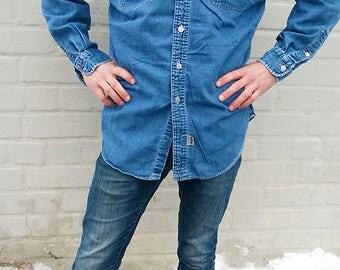 Vintage RALPH LAUREN denim shirt, denim jacket, vintage jean shirt, vintage denim jacket, button up, workwear, jean jacket, L/XL