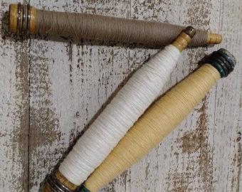 Antique Primitive Wood Spool & Yarn Spindle Bobbins, Vintage Old Weaving Mill Loom Spools, Set of Three (3)