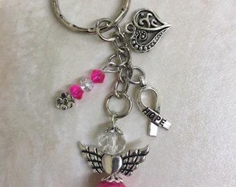 Cancer awareness keyring, cancer survivor gift, pink breast cancer keyring, hope keyring, gift for her, breast cancer awareness gift, spirit