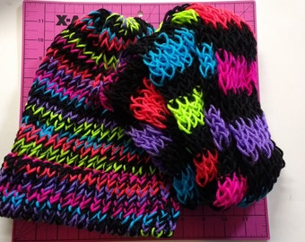 Knitted Beanie and Scarf - Neon Stripe color