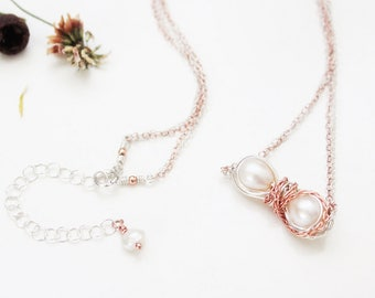 Wire Wrapped Infinity Pearl Necklace in Rose Gold & Sterling Silver, Freshwater White Pearl Necklace, June Birthstone Jewelry, Jewelry Set