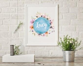 SALE Floral Custom Name Girls Nursery Print