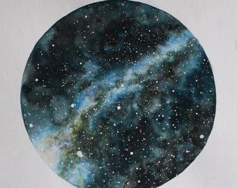 FINE ART PRINT of Original Star Chart Watercolor Painting, Night Sky, Stars
