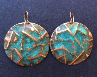 Rustic Hammered Large Circle Earrings - LC0004