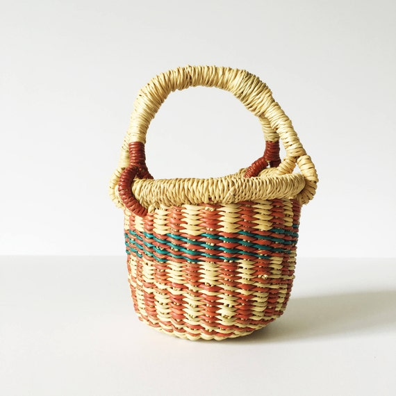 Mini Natural, Blue & Red Bolga Basket