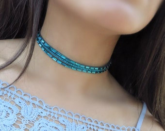 Turquoise Choker, Layered Choker, Choker Necklace, Suede Leather Choker, Delicate Choker, Fancy Triple Choker, Fashion Choker, Dainty choker