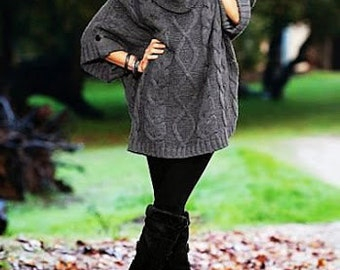 Women knitted poncho.hand-knitted blouse.
