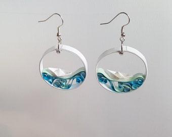 Sea inspired quilled earrings | Handmade paper earrings | Nautical themed jewellery
