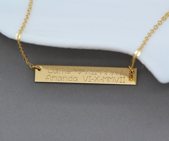 gold name bar necklace monogram bar necklace personalized