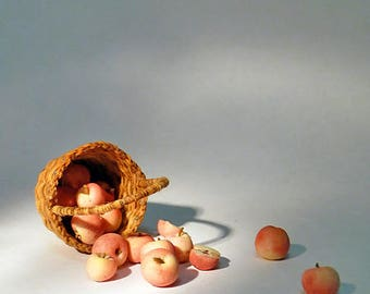 Wicker basket with fruits, Apples, 1/12 Dollhouse Miniature Scale