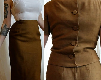 1960s Mam'selle by Betty Carol two-piece chocolate brown wiggle dress