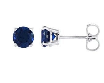 14K Gold Sapphire Earrings / Sapphire Gold Earrings Studs / Solid White Gold