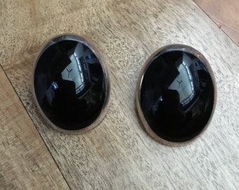 Mexican Modernist Oval Onyx and Sterling Silver Earrings