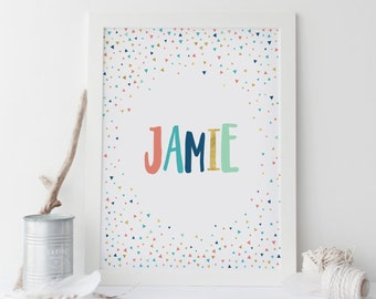 Custom Baby Name Wall Art, Custom Nursery Name Sign, Triangles Personalized Name Print, Personalized Baby Gift, Scandinavian Nursery Art
