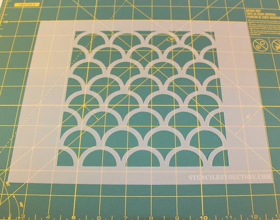 Fish scale scallop stencil pattern reusable diy craft for Fish scale stencil