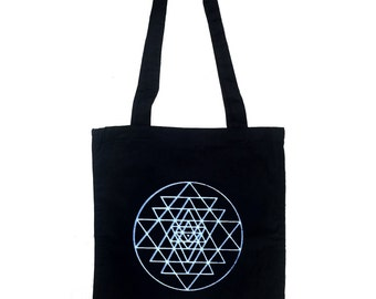 Sri Yantra tote bag, yoga bag, black tote bag, yoga tote bag cotton bag, cotton tote bag, cotton tote, black tote, shopping bag, printed bag