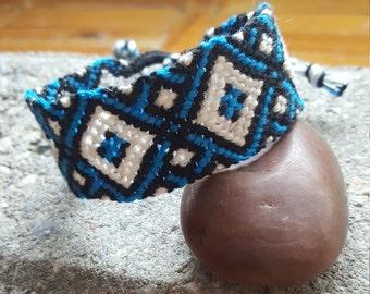 Diamond Pattern Macrame Wrap Bracelet Boho Vegan