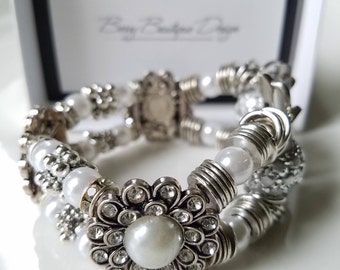 """Apple Watch Band 38mm, Apple Watch Band 42mm , Silver plated slider faux pearl w/silver rondel and findings, Style """"Summertime"""""""