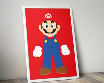 Mario Poster Print - A2 Size | Digital Download | Wall Art | Video Game Art | Minimalist