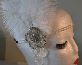 Silver White & Pearl 1920's Vintage Style Headband Flapper, Great Gatsby Charleston Weddings, Proms, Parties, 1920s/1930s Themed Occasions,