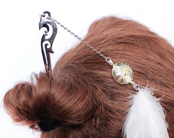 white hair jewelry flower girl gift daughter accessory dandelion jewelry/for/hair resin jewelry feather hair fairy jewelry hair pick h33
