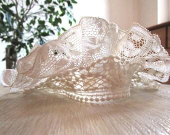 Headband wedding lace vintage upcycling lace unique piece.