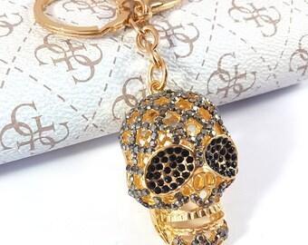 Diamond keychain, Diamond Skull Keyring, Skull keychain, Gold Skull, Gift Skull, Diamond Skull, Crystal Skull, Keyring skull, Crystal skull